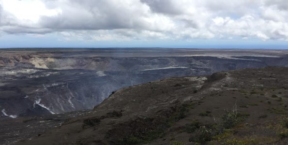 September 19, 2018 USGS photo looking southward of the south caldera of Kīlauea Volcano showing the main collapse area. The south Sulphur Bank is in the left side of the photo. Uēkahuna Bluff, from where this photo was taken, cuts across the bottom and lower right corner of the photo. After the collapse of 1868, the caldera floor may have looked something like this.