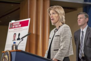FBI Executive Assistant Director Amy Hess speaks at a November 28, 2018 press conference at the Department of Justice announcing charges against two Iranian men in connection with an international computer hacking and extortion scheme involving the deployment of sophisticated ransomware known as SamSam.