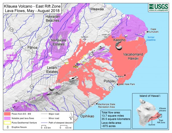 This map of Kīlauea Volcano's lower East Rift Zone, created by USGS Geographic Information Systems (GIS) analysts, shows the extent of the 2018 lava flows (pink), which covered an area of about 35.5 sq km (13.7 sq mi) and added about 875 acres of new land to East Hawaiʻi. There has been no lava flow expansion since August 9, 2018. Minor activity within the fissure 8 cone continued into early September 2018 but did not expand the flow margins. Shaded purple areas depict lava flows erupted in 1840, 1955, 1960, and 2014-2015. USGS map.