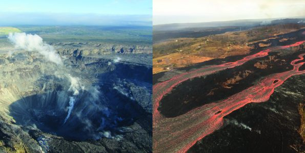 "Kīlauea Volcano's 2018 summit collapse, shown here on July 28 (left), and the lower East Rift Zone fissure 8 lava flow, shown here on July 2 (right), will be the focus of ""Volcano Awareness Month"" talks offered in January 2019. For details, please visit the ""HVO News"" corner on the USGS Hawaiian Volcano Observatory website homepage (https://volcanoes.usgs.gov/vsc/file_mngr/file-200/Talks_2019%20VAM.pdf). USGS photos."