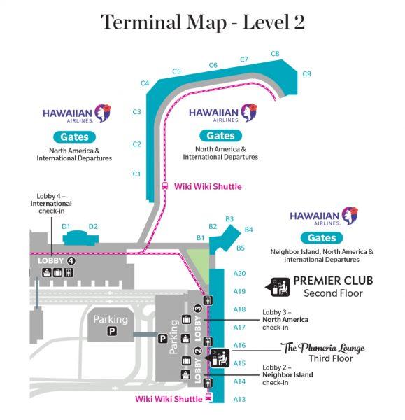 Map of Hawaiian's new HNL lobby operations.