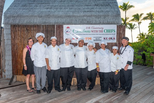 "Seven Hawaii Community College-Palamanui students received scholarships at Saturday's Christmas with the Chefs. Pictured left to right: ACF Kona Kohala Chefs Association Scholarship Chairperson Patti Kimball, ""George"" Vichadach Chotikawan, Thomas Elarco, Lily Frazier, Daine Lagpacan, Alice Petriyenko, Deanna Marks, Alma Gorali and Palamani Culinary Program Coordinator Paul Heerlein. Photo by Kirk Shorte."
