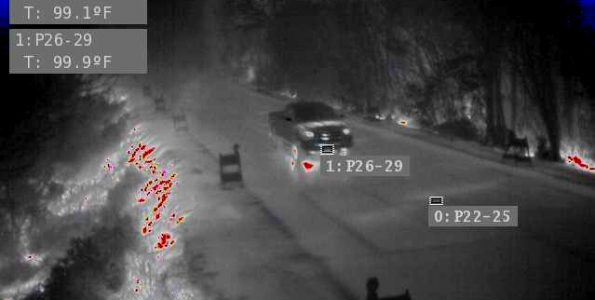 Thermal camera image at Mile Marker 14.5 on Pahoa-Kalapana Road (Route 130) Image courtesy HDOT