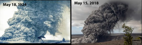 Explosive eruption columns of ash rising from Halema'uma'u at 11:15 a.m. on May 18, 1924 (left) and at 11:05 a.m. on May 15, 2018 (right) look similar. Researchers are re-evaluating early assumptions about the role groundwater played in triggering these explosive eruptions at the summit of Kīlauea Volcano and are now looking at the build-up of gases from retreating magma as a likely trigger. USGS photos.