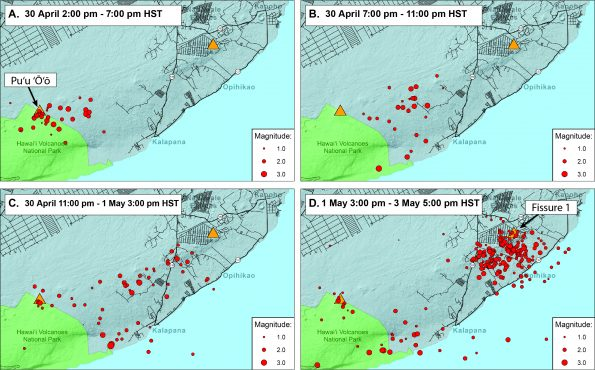Earthquakes (red dots) track the progression of the magmatic intrusion fromKīlaueaVolcano'smiddle East Rift Zone to the lower East Rift Zone between April 30 and May 3, 2018. Orange triangles show the locations offissure 1 (right), which erupted on May 3, andPuʻu ʻŌʻō (left). The earthquakes shown here are well-located with magnitudes less than 3.5 and depths shallower than 7 km (4.3 miles). USGS graphic.