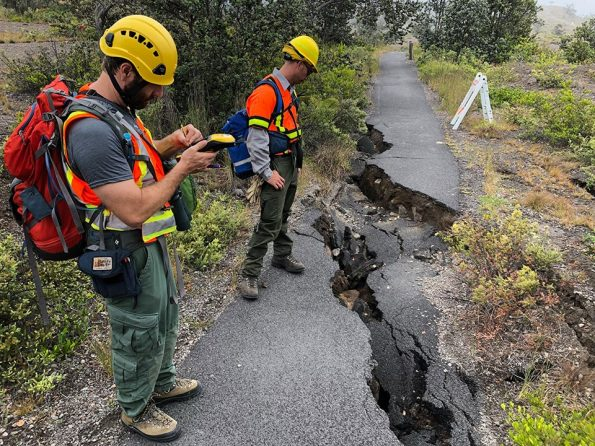 Damage on Crater Rim Trail being assessed. NPS Photo