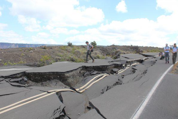 Damage survey on Crater Rim Drive. NPS Photo by Jessica Ferracane.