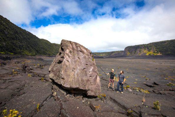 Massive boulder in Kilauea Iki. NPS Photo by Janice Wei