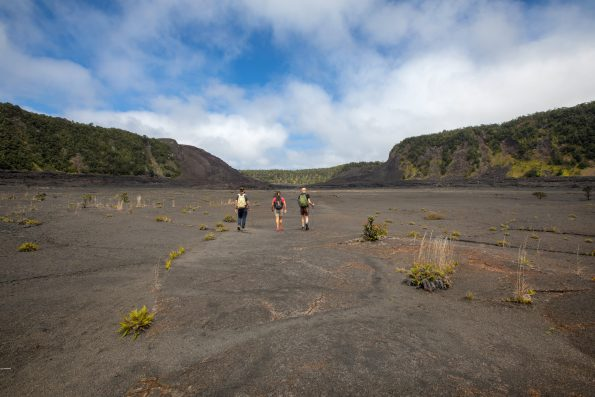 Hikers on the floor of Kilauea Iki Trail. NPS Photo by Janice Wei