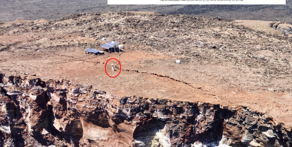 A small collapse of the Pu'u 'Ō'ō crater at 6:14 a.m. HST today (May 1, 2019) was the last 'hurrah' for a GPS instrument located on the crater's edge (red circle). This station, designated PUOC, served faithfully throughout Kīlauea's 2018 eruption and was an important source of information on the shallow magma system of Pu'u 'Ō'ō. The station's last reported position showed it moving rapidly to the southeast, consistent with motion into the crater (inset shows data transmissions from April 11 through this morning). Monitoring of Pu'u 'Ō'ō is currently being accomplished by additional GPS and tilt stations farther from the edge of the crater. The larger equipment installation near the solar panels was not affected by this morning's collapse and continues to function. However, contingency plans are in place in case collapses of the crater edge continue. USGS photo by I. Johanson on March 18, 2019, annotated on May 1, 2019.